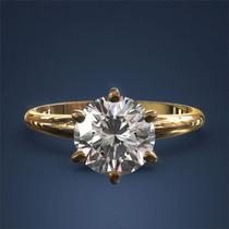 Anel Solitário Em Ouro 18 Quilate E Diamante De 70 Pontos