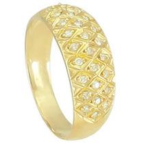 Lindo Anel Em Ouro Amarelo 18k !!! E Diamantes !!