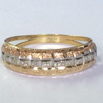Ngold Anel Tricolor 3 Cores Em Ouro 18k 750.
