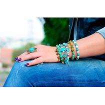 Anel Com Pedra Azul Turquesa Ouro Envelhecido Pronta Entrega