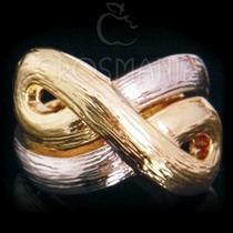 Anel Infinito Dourado - Amor Eterno Folheado A Ouro 18k. Sim