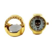 Anel Relógio Caveira Dourada Ajustável