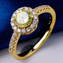 # Jdx Anel Aro18 Ouro18kplated Cristal Ametista Verde Lindo!