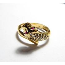 Anel 17 Diamantes 2 Rubis Ouro 18k 750 Ouro Mesmo Anel Cobra