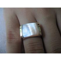 Anel Em Prata 950 Com Madrepérola E Dois Apliques De Ouro
