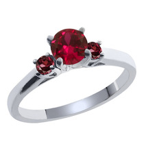 Anel De Prata Esterlina Com Ruby ¿¿fabricados