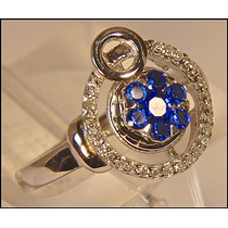 Rsp J3858 Anel Mini Joia Prata 925 Safira Azul Sedex Grátis