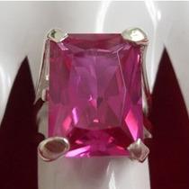 Anel De Prata 950 Com Turmalina Rosa Frete Grátis