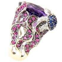 Maravilhoso Anel Ametista Rubis Safiras Diamantes Ouro 18k75