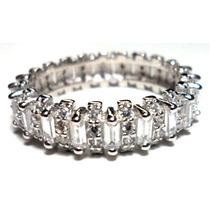 Iow-anel Aliança Prata 925 Zirconias Trapezio Rodinado