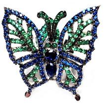 Jal-anel Borboleta Prata 925 Zirconias Rodinado