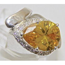 Rsp J3878 Anel Prata 925 A Ouro Safira Amarela Brilhantes...