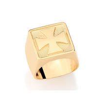 Anel Ouro Folheado Masculino Liso Cruz De Malta Rommanel