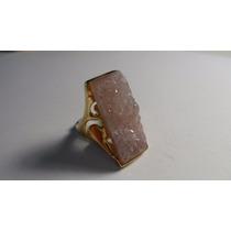 Anel De Pedra Drusa Retangular Cristal Banho De Ouro Tama 19