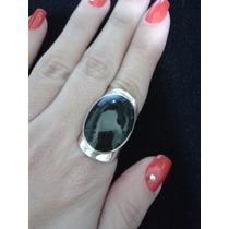 Anel Prata 925 Preto Onix Pedra Natural