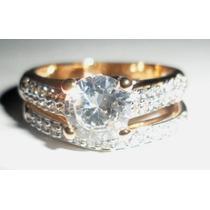 Promoção-zz66-anel Duplo Em Ouro 18k Plated C/ Zirconias.