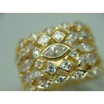 Anel De Ouro 18k Com Diamantes Navetes Baguetes Jr Joalheiro