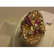#271a - Anel Estiloso Em Ouro 14k Com Diamantes E Rubis