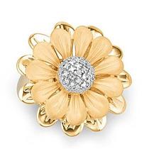 Maravilhoso Anel Flor Em Ouro Amarelo 18k!mais Brilhantes.