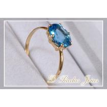 Promoção Lindo Anel Em Ouro 18k Com Topázio Azul Natural.