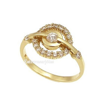 Anel Com Diamantes Em Ouro Amarelo 18k!! Linda Jóia!
