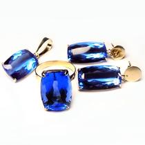 Conjunto Anel, Brinco,pingente Ouro 18k Quartzo Topázio Azul