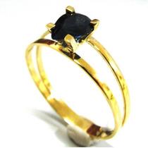 Anel Profissao Em Ouro 18k Pedra Safira Zirconia - Afo234