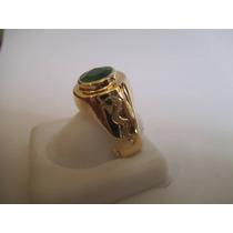 Anel Formatura Ouro 18k 0750 Medicina Com Esmeralda