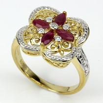 Joalheriavip Anel Prata 925 Folheada Ouro Diamante E Rubis