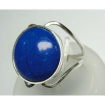 Anel Prata 950 C/ Quartzo Azul Cabochao Detalhes Laterais