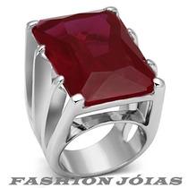 Anel Solitário Vermelho Rubi Em Prata Pedra Natural Luxo