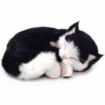 Filhote Pelúcia Gato Preto E Branco Respira Perfect Petzzz