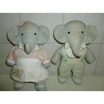 Casal De Elefantinhos De Tecido Da Giovanna Baby.mede Cm. 24