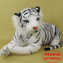Bicho De Pelúcia Grande Safari Tigre Branco 65cm Luxo