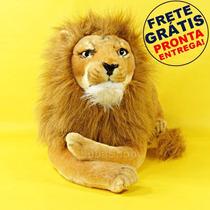 Pelúcia De Leão Selvagem Grande 62cm - Bicho De Pelúcia Leão