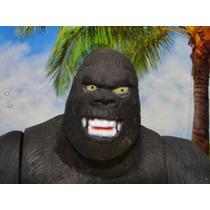 Boneco Gorila King Kong Articulado 25cm Borracha Macia Preta
