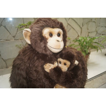 Macaco Chipanze C/ Filhote Pelucia Safari Decoração