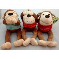 Kit 3 Macacos De Pelúcia : Não Ouço, Não Vejo, Não Falo