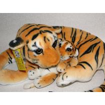 Tigre De Pelúcia Real - Mamãe E Filhote - 50cm