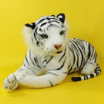 Tigre Branco De Pelúcia Deitado 65 Cm
