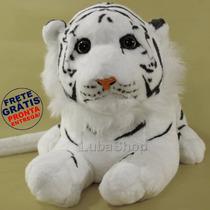 Filhote De Tigre Branco De Pelúcia Safari 48cm Antialérgico