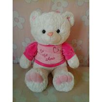 Urso Pelúcia Branco Rosa Eu Te Amo