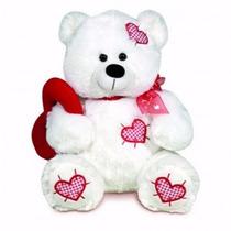 Ursinho De Pelúcia Pompom Branco Coração Buba Toys