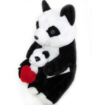 Urso Panda De Pelucia Tamanho Gigante Com Filhote E Coração