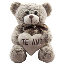Urso Coração Te Amo Grande Bege Namorados Pelúcia