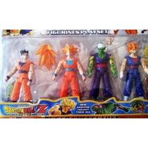 Kit 4 Personagens Dragon Ball Z Bonecos Articulados Goku +