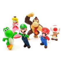 Bonecos Super Mario Miniaturas Mario Kit 6 Figuras Luigi Dk