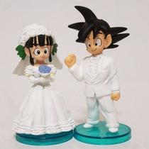 Kit 2 Bonecos Noivos Goku E Chichi Dragonball Dbz Casamento