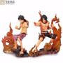 2 Bonecos One Piece Luffy E Ace Diorama - Menor Preço Do Ml