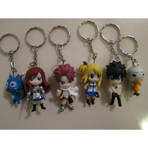 Fairy Tail 6 Chaveiros Natsu, Lucy, Erza, Gray, Plue E Happy